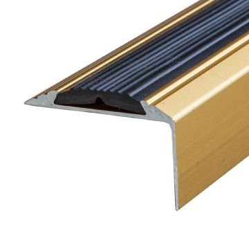 Anti-Slip Anodised Aluminium Stair Nosing 46mm x 30mm A38 Self Adhesive