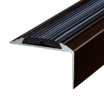 Anti-Slip Anodised Aluminium Stair Nosing 46mm x 30mm A38 Screw